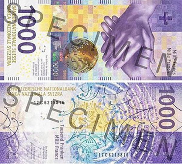 Швейцария представила новую банкноту в 1000 франков